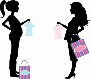 Shopping pregnant women illustration with silhouette style ...