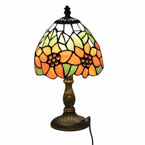 Small, Table, Lamp, Country, Sunflower, Stained, Glass, Bedside, Luminaria, De, Mesa, E27, 110, 240v
