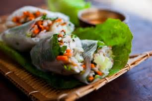 spring rolls  carrots turnips rice noodles  herbs