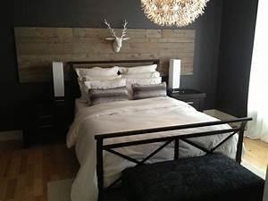 Deco Chambre Bois : t te de lit bois de grange barn wood bedhead bois grange home bedroom palette bed wood beds ~ Melissatoandfro.com Idées de Décoration
