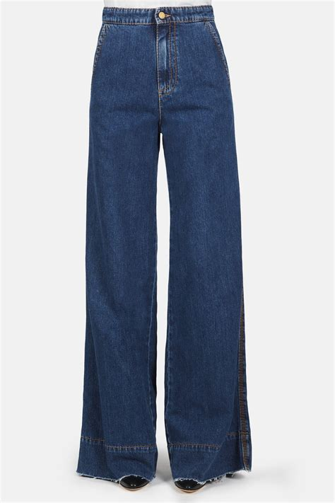 Frayed Wide Leg wide leg flare blue denim the line