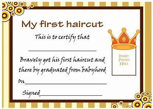 my first haircut certificate template choice image With my first haircut certificate template