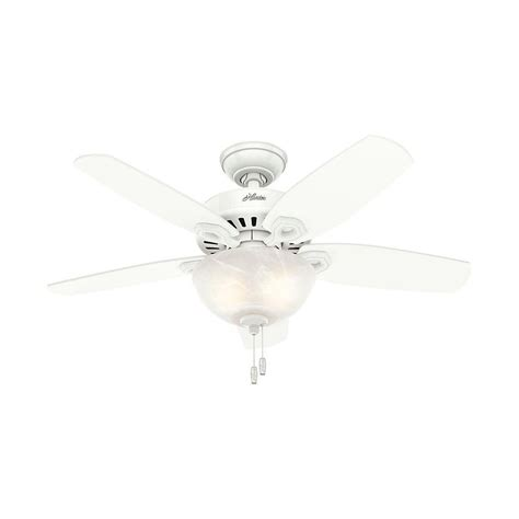 small white ceiling fan with light hunter builder small room 42 in indoor snow white bowl