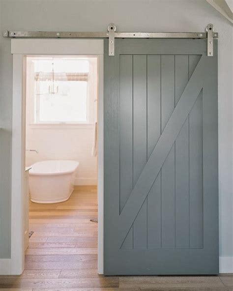 bathroom barn doors gray painted  buck wood slider