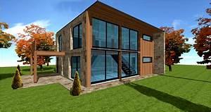 maison parement bardage pierre brique zinc metallique et With maison bois et pierre