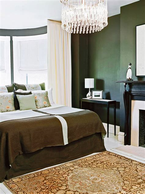 Dark Green Walls Bedroom