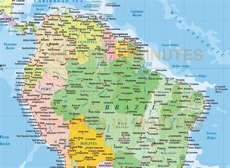 digital vector south america political map  sea