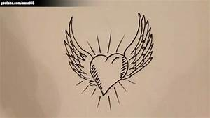 Easy Angel Wings Drawing How To Draw A Heart With Angel ...