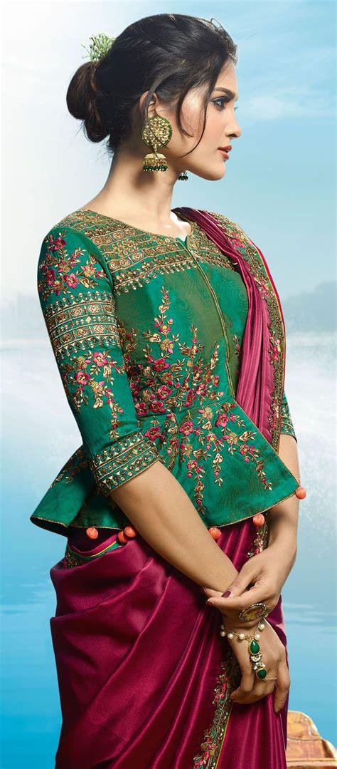 buy magenta color barfi silk designer party wear saree