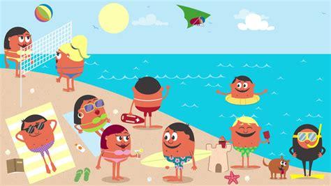 stock video  beach animation  busy beach