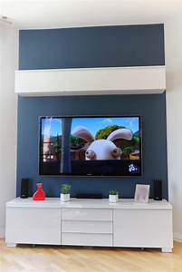 meuble tv fixe au mur maison design wibliacom With meuble tv accroche au mur