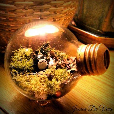 diy light bulb terrarium   clay model  totoro