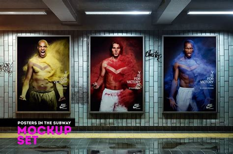 posters   subway mockup set mockup templates