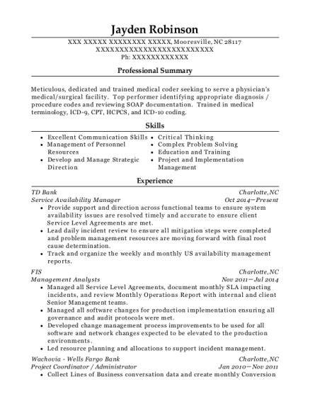 Td Resume by Td Bank Service Availability Manager Resume Sle