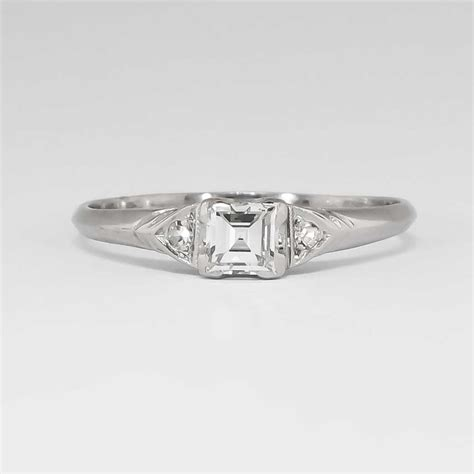 Elegant Understated 1940's 30ct Tw Square Emerald Cut. Shape Wedding Rings. Eco Wood Wedding Rings. Egyptian Rings. Tamil Gold Engagement Rings