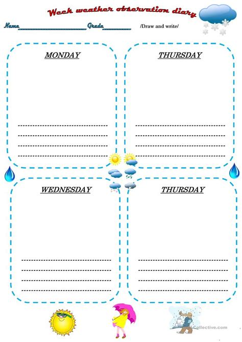weather observation diary worksheet free esl printable