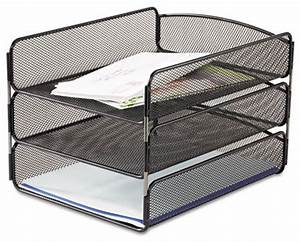 onyx mesh desktop organizer triple tray contemporary With white mesh letter tray