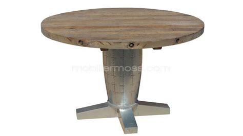 table ronde zinc design en bois et en m 233 tal mobilier moss