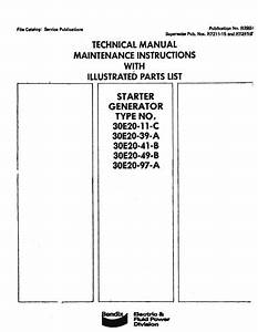 Bendix Starter Generator 30e20 Series Maintenance