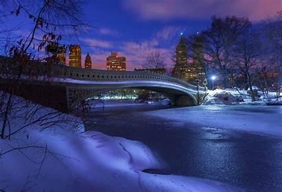 Park Central Night Winter Snow Desktop Zima