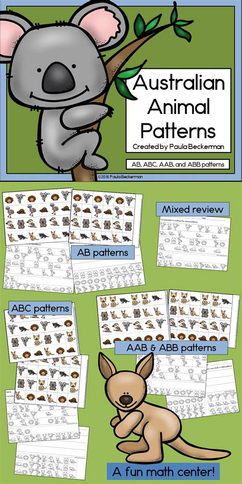 australian animals patterns math center with ab abc aab 396 | c586b24803a35535bffc58191ded0286