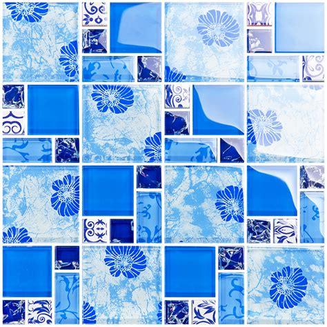 blue glass mosaic tiles crackle tile hand paint tile