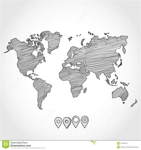 hand drawn doodle sketch political world map  stock