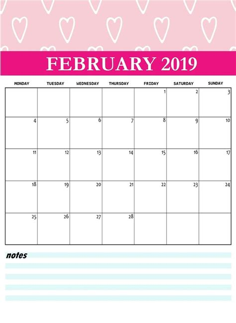 cute february  printable calendar printable calendar