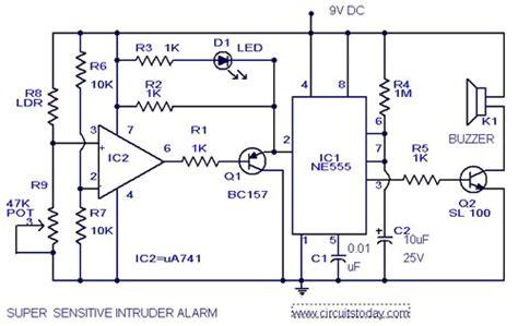 Light Sensitive Intruder Alarm Circuit Diagram Using