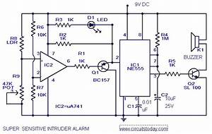 Sensitive Intruder Alarm Circuit Diagram Using 555 Ic And
