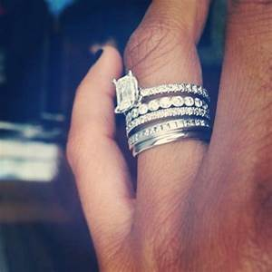 stacked wedding bands with engagement ring pictures to pin With mix and match engagement ring and wedding band