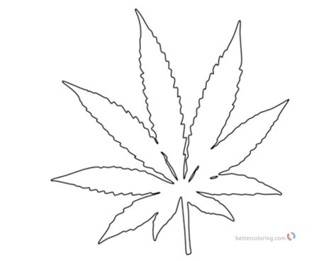 weed coloring pages pot leaf white  black