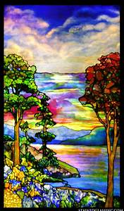 """""""Autumn Landscape"""" Stained Glass Window"""