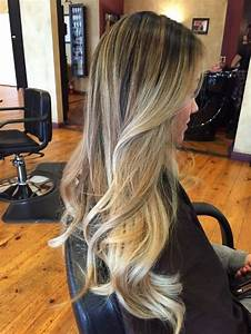 Brown Hair With Light Ash Highlights High Contrast Balayage Highlight Blending Dark Roots Into