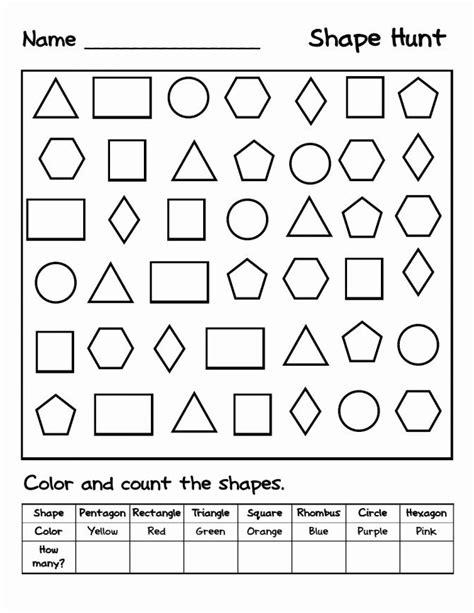 shapes worksheets  kindergarten  identify  color