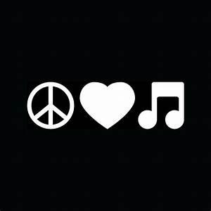 PEACE LOVE MUSIC Note Sticker Car Truck Window Vinyl Decal