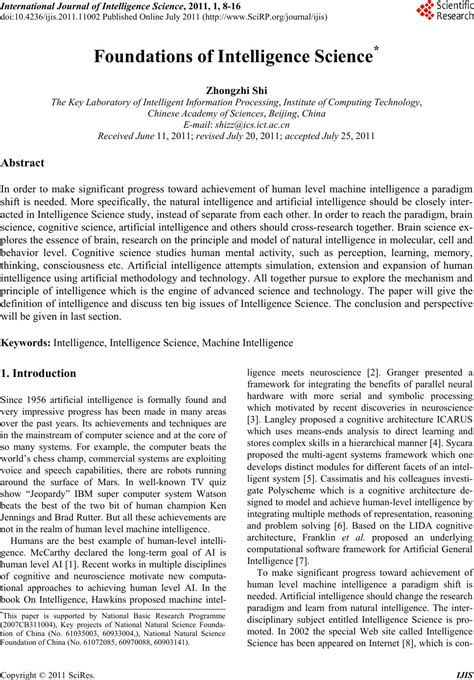 Foundations of Intelligence Science