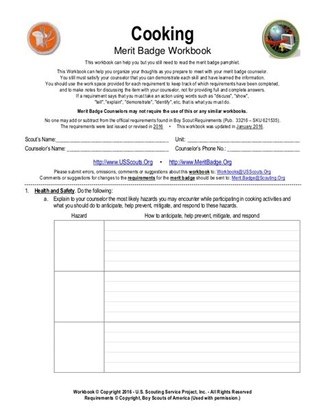 cooking merit badge worksheet filled out breadandhearth