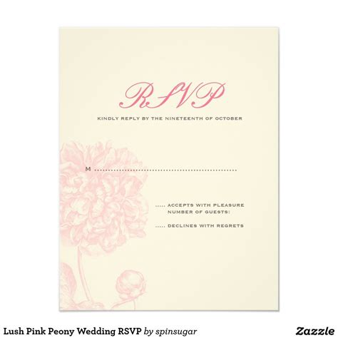 Lush Pink Peony Wedding RSVP Zazzle com Pink peonies