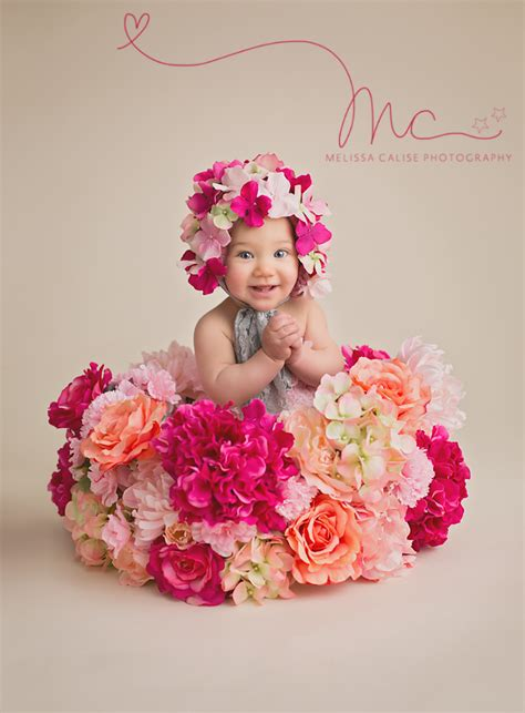 melissa calise photography baby girl sitter flowers pink