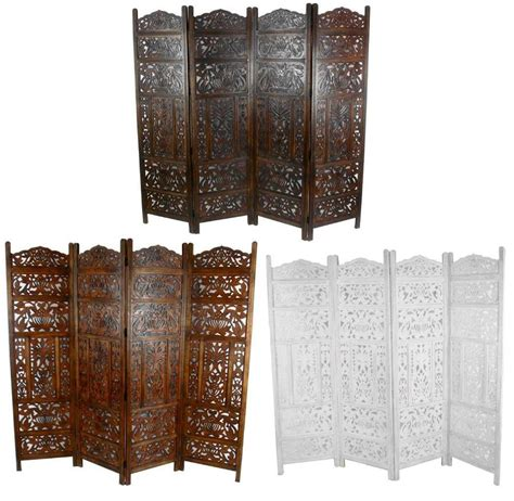4 panel heavy duty carved indian screen wooden leaves design screen room divider ebay