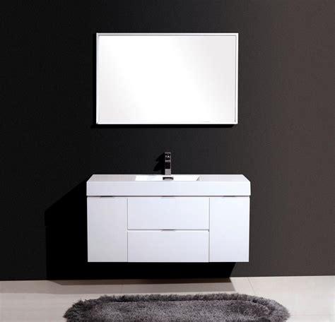 bliss  high gloss white wall mount bathroom vanity