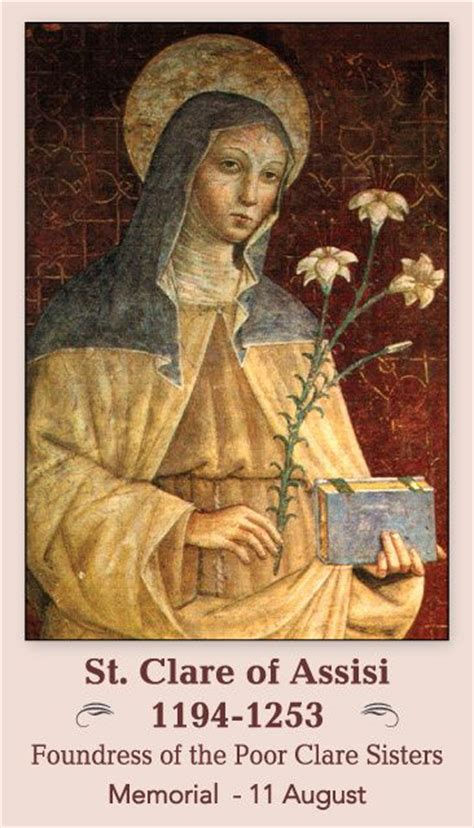 st clare prayer card