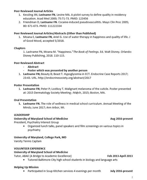 Preparation Cv by Cv Preparation Tips Of Maryland School Of