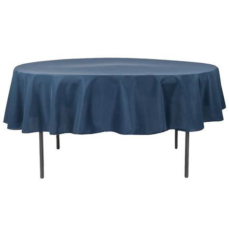 "Economy Polyester Tablecloth 90"" Round Navy Blue CV Linens"