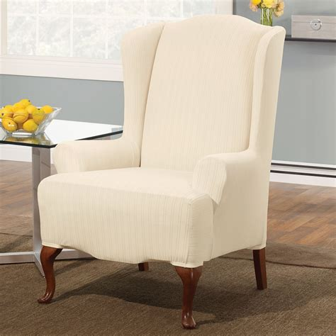 wing chairs slipcovers sure fit slipcovers stretch pinstripe wing chair slipcover
