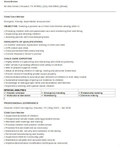 Child Care Worker Resume by Sle Child Care Resume 9 Exles In Word Pdf