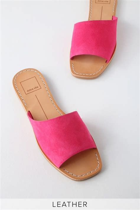 Cato Fuchsia Suede Leather Slide Sandals Suede leather