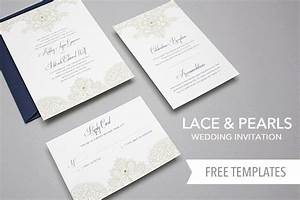 free template lace pearls wedding invitation set yes With diy wedding invitations templates free download