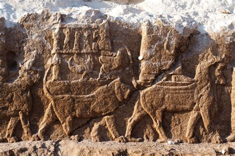 extremely rare assyrian carvings discovered  iraq